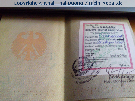 Punktlandung… Visum für Nepal beantragt!