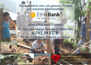 Die EthikBank und ihre Kunden spenden 6.700€ für die Erdbebenhilfe in Nepal.