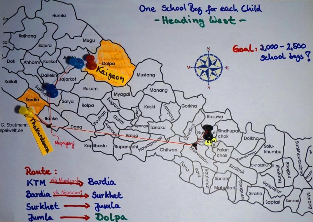 Unsere Route von Kathmandu nach Dolpa