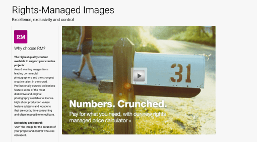 Getty Rights-Managed page