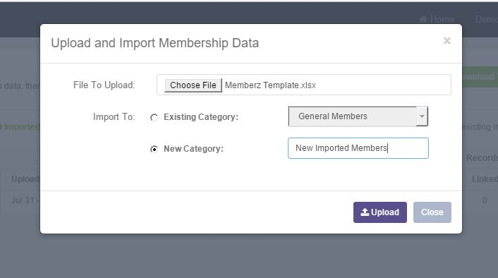 Uploading your completed template to an existing or new membership category
