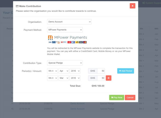 Member Contribution Modal With Multi-Period Payment options