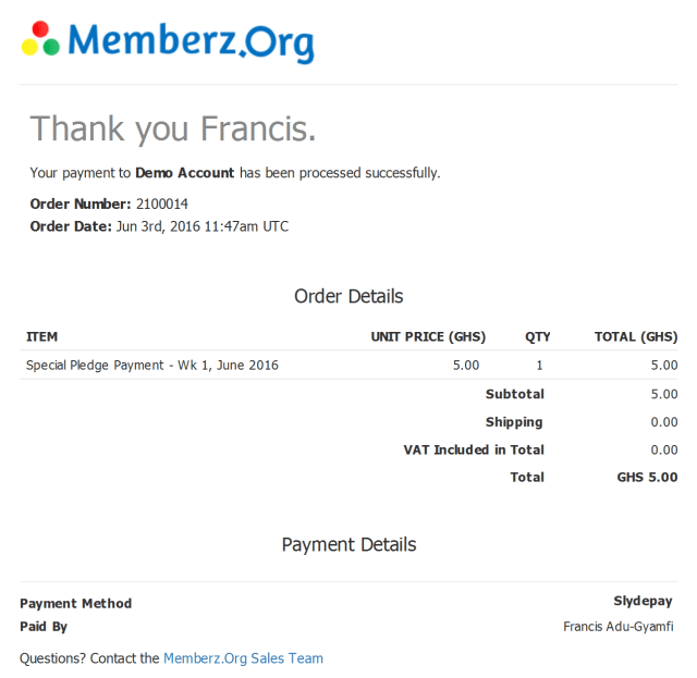 Example payment receipt from Memberz.Org to members