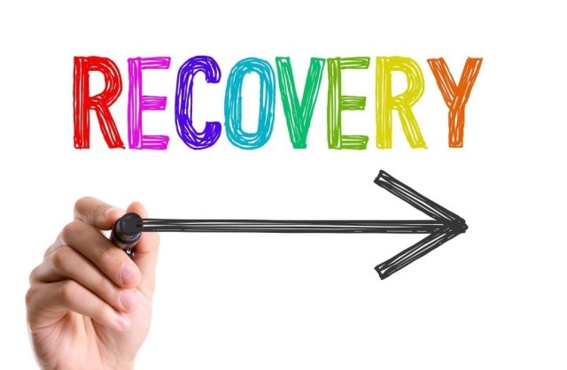 An image showing an arrow towards the word Recovery.