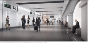 In an artist's impression, people walk down a white teamway that will connect 81 Bay Street and 141 Bay Street.