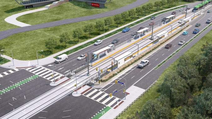 In an artist's drawing, looking down from above, cars and trucks pass by LRT tracks and a platform where customers are waiting for the next train.