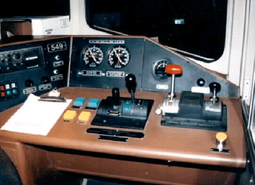 Train controls are shown, including a red throttle and speed guages.