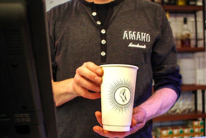 Photo of a coffee cup at Amano restaurant.