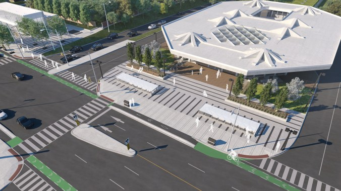 An artist depiction shows an view looking down at the large entrance of Cedarvale Station.