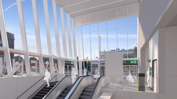 Customers and escalators - lit by natural light - is shown in an artist concept.