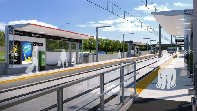 An artist concept shows customers waiting on the platform for an approaching LRT vehicle.