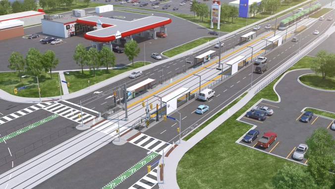 An artist concept looks down at a light rail transit platform, as a vehicle pulls in.