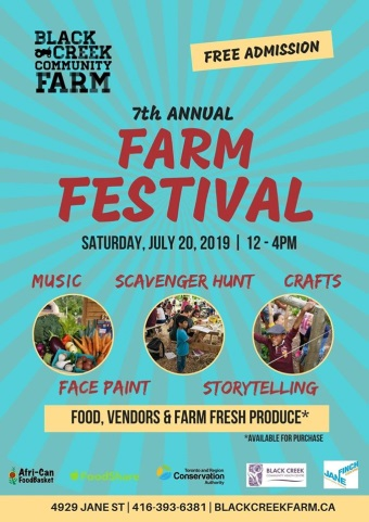 A poster announcing the Farm Festival on July 20.