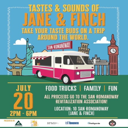 A poster for the Tastes and Sounds of Jane and Finch.