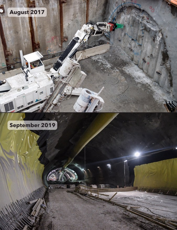 A before and after shot of excavation work at Laird Station.