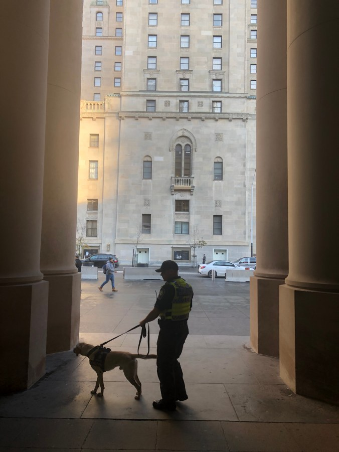 Dash and officer Hoffman standing outside Union Station