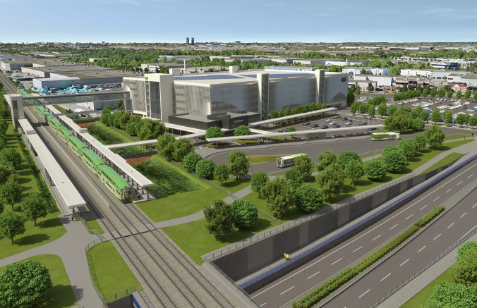 An aerial view rendering of the new Rutherford GO station