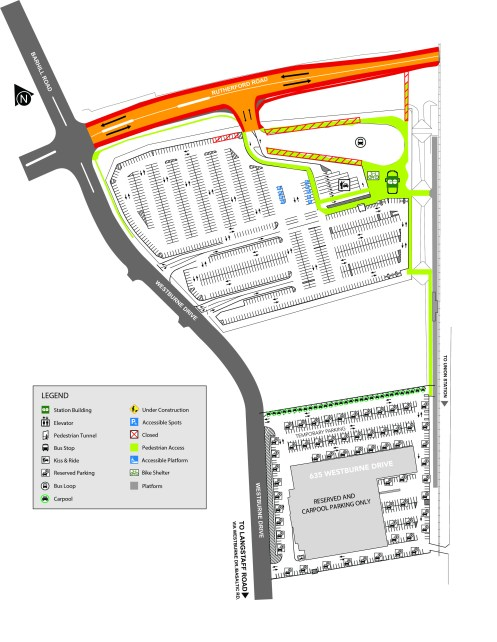 Map showing lane reductions on Rutherford Road