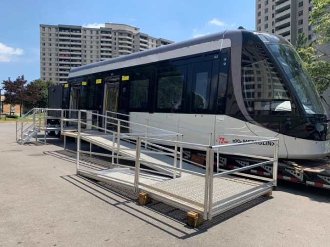 Image show the LRT mock up on a flatbed truck.