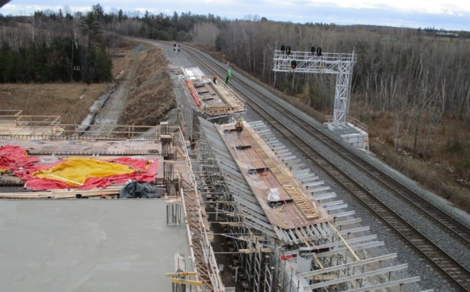 Image shows the tracks with platform work being done.