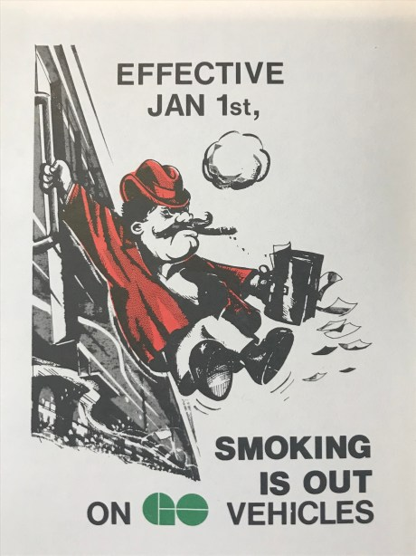 A photo of a pamphlet from 1977 that shows a cartoon commuter with a cigarette