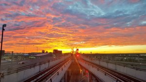 Image shows a sunrise - or sunset - near Pearson Airport.