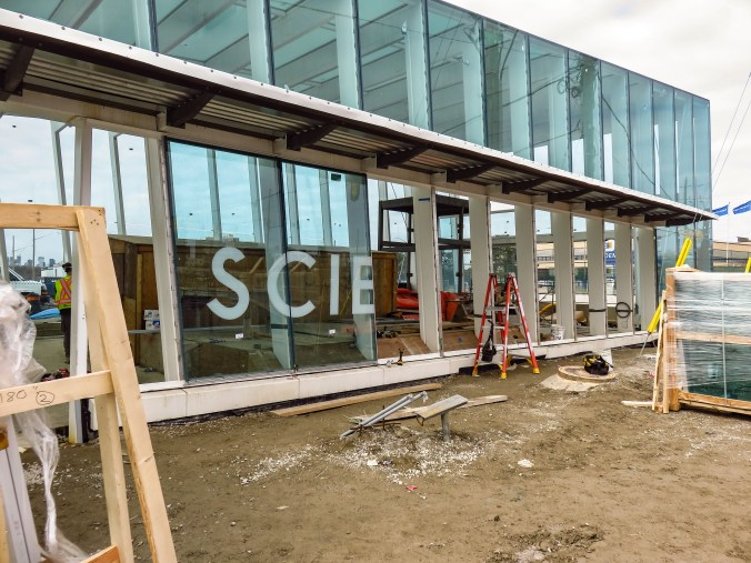 'Science Centre' is being spelled out on main entrance windows.