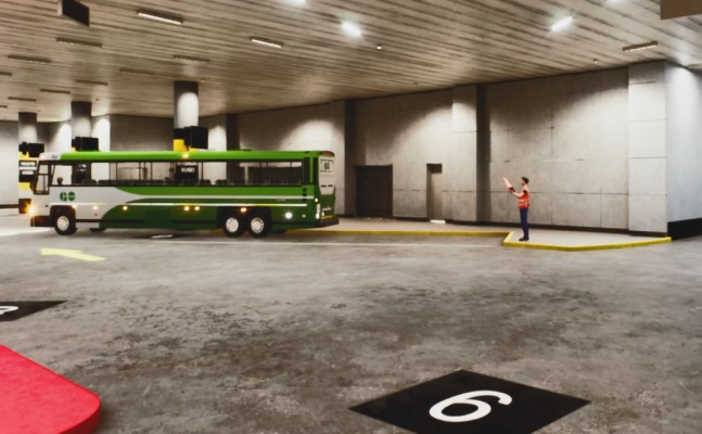 Image shows a bus backing up.