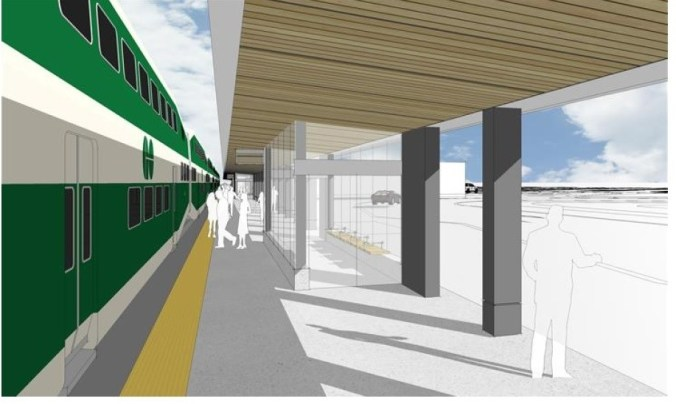 Image shows a rendering of a train platform.