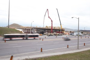 Image shows the bridge work taking place.