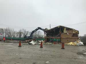 Photo of the old fire fighter training building being demolished