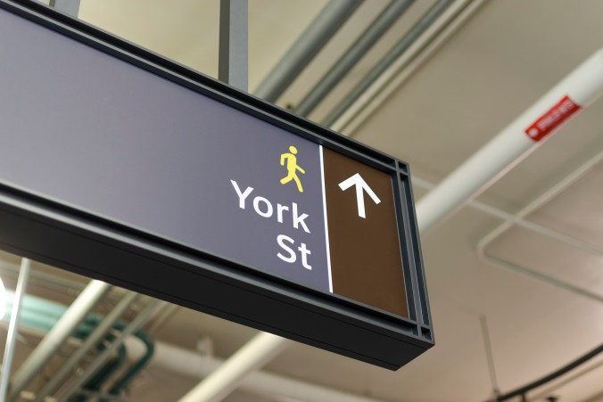 new signage directing transit users to York Street