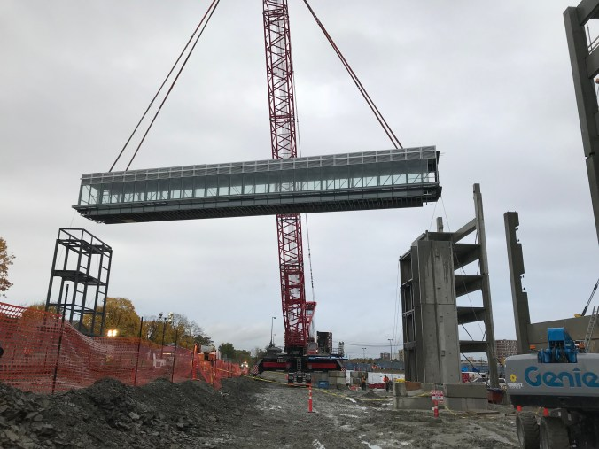 Photo from fall 2018 pedestrian bridge was assembled on site and lifted into place by a giant crane