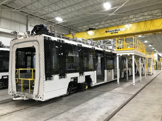 Shot of progress on the first Finch West light rail vehicle inside the Alstom factory in Brampton, Ontario
