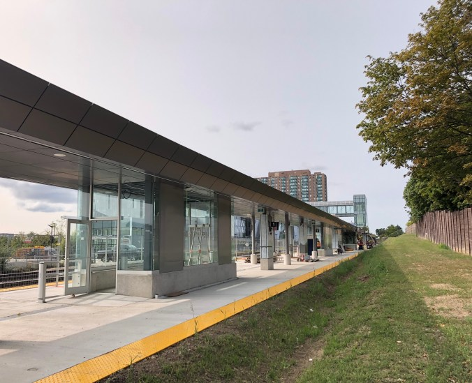 view of the completed east platform