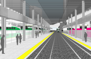 Image is a rendering, showing customers on a platform