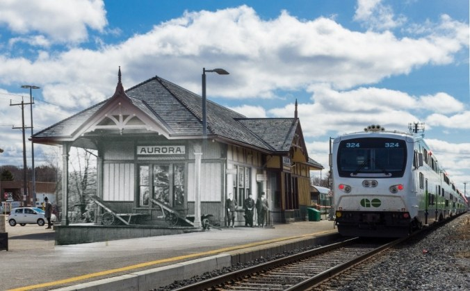 Image is a meld of an old photo of the station with a GO train.