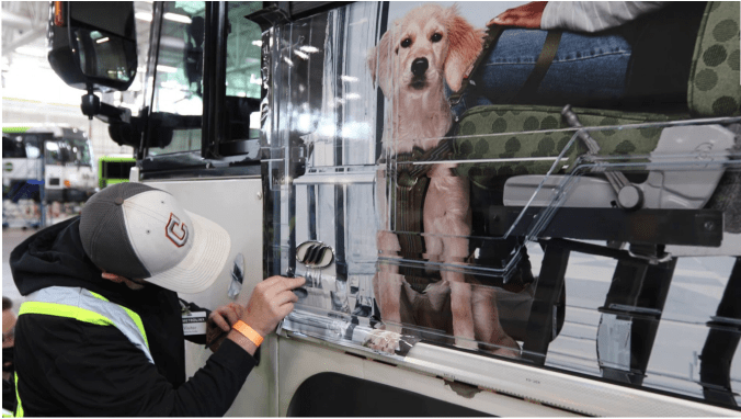 A worker applies the wrap to the bus with a close up of a dog
