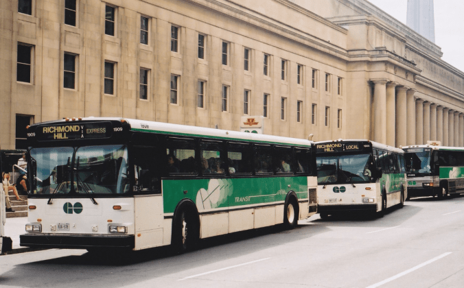 Image shows a line of buses.