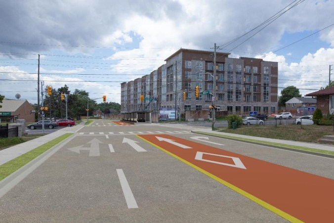 Image shows a street at markings for a BRT.