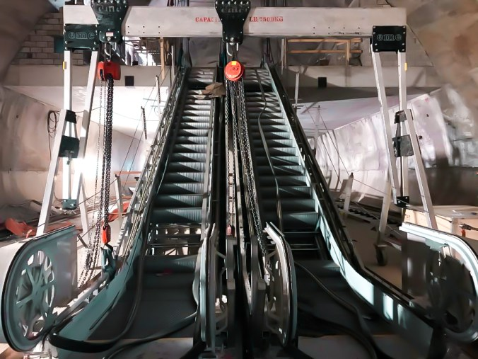 Image shows escalators in place.