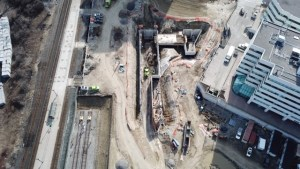 Image looks down on construction.