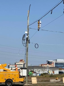 Image shows lights being put up next to a street.