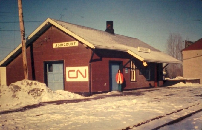 Cheryl Preston standing in front of the old CN owned Agincourt train station