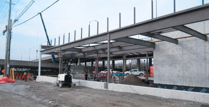 Photo of 60 tones of structural steel that was recently finished – which will form the entrance for the GO Transit building at Kennedy station
