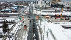 Image shows construction near an intersection.