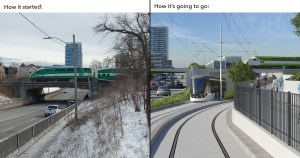 Image shows a before shot with traffic flowing under a rail bridge, and an artist rendering of the LRT moving under as well.