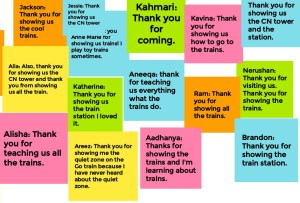 Image shows thank you notes sent to Anne Marie from the children.