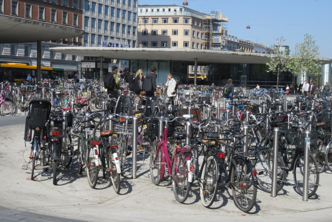 Image of bikes in front of a subway station
