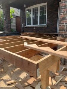Image shows a deck being built.
